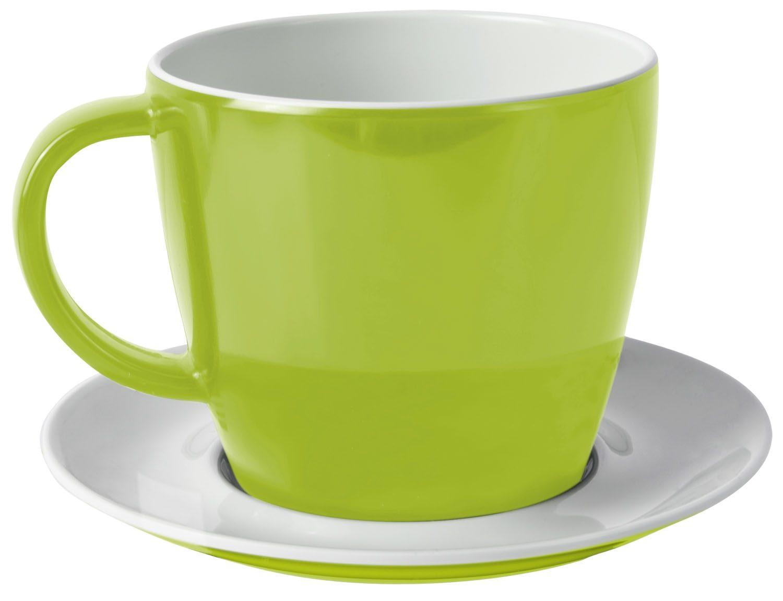 Tazza con piattino verde