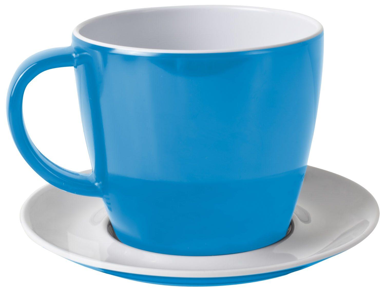 Tazza con piattino blu