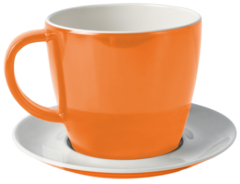 Tazza con piattino arancione